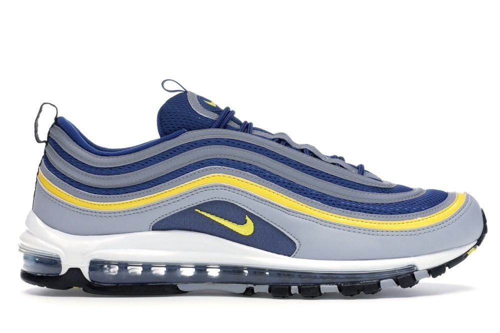 Scarpe Sneakers Nike Air Max 97 Michigan blu con baffo giallo