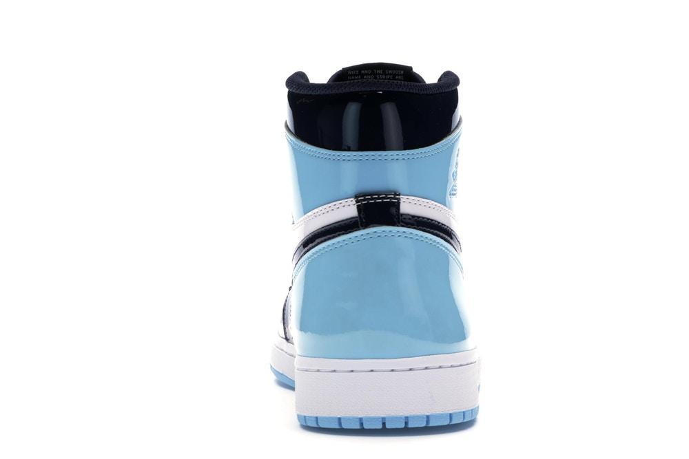 Scarpe nike-air jordan 1 celeste blu notte lucide modello UNC Patent