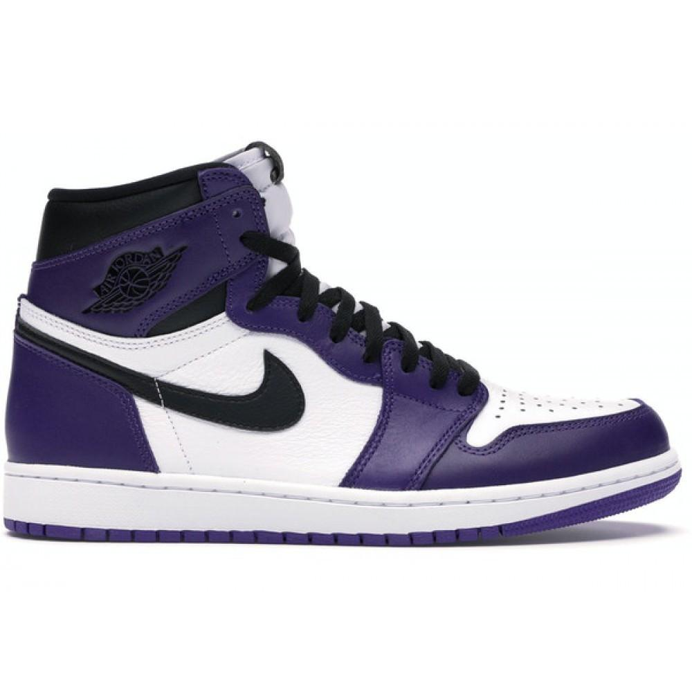 Scarpe Sneakers Nike Air Jordan 1 Retro Viola e bianche Court Purple White