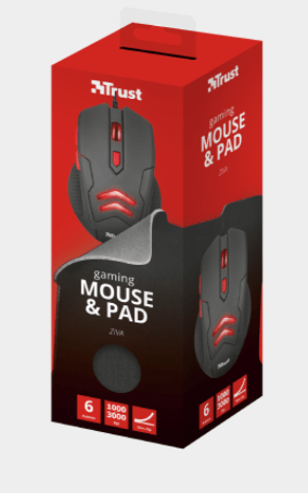 KIT GAMING MOUSE + TAPPETINO TRUST ZIVA 21963