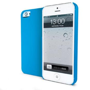 Cover posteriore dedicata per iPhone5 azzurra opaca in plastica rigida gommata per proteggere e colorare il tuo Apple. Morbida al tatto