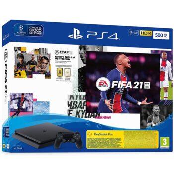 PS4 SONY CONSOLE SLIM F CHASSIS 500GB BLACK ITALIA + GIOCO FIFA 21 + GIOCO FUT 21 VCH