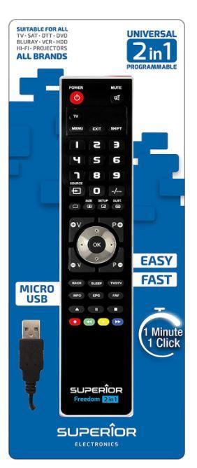 TELECOMANDO UNIVERSALE PER TV SUPERIOR FREEDOM USB 2IN1 BLACK .