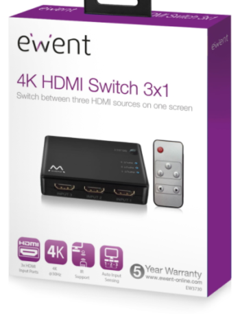 SWITCH 3 PORTE HDMI 4K EWENT